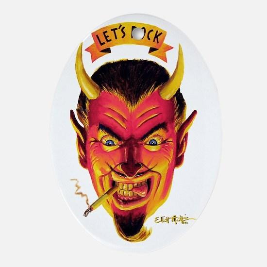 Lets Rock Retro Devil Oval Ornament