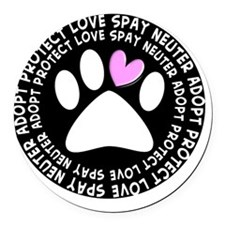 spay neuter adopt BLACK OVAL Round Car Magnet