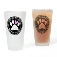 spay neuter adopt BLACK OVAL Drinking Glass