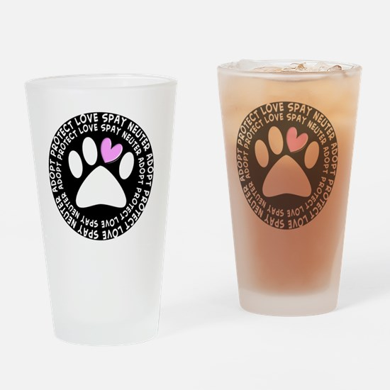 spay neuter adopt BLACK OVAL Drinking Glass