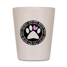 spay neuter adopt BLACK OVAL Shot Glass