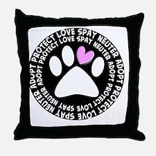 spay neuter adopt BLACK OVAL Throw Pillow
