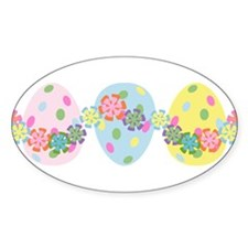 Easter Eggs 'N Garland Oval Decal