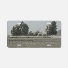Clarence Pickett on bombing Aluminum License Plate