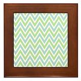Mint green curtain Framed Tiles