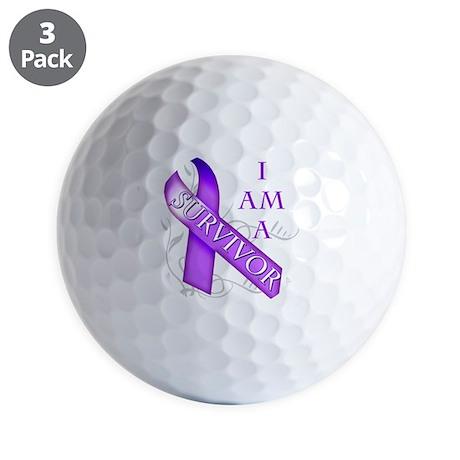 I Am a Survivor (purple) Golf Balls