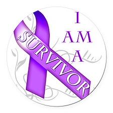 I Am a Survivor (purple) Round Car Magnet
