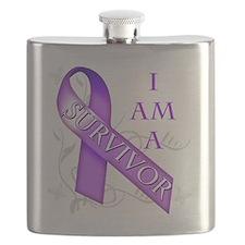 I Am a Survivor (purple) Flask