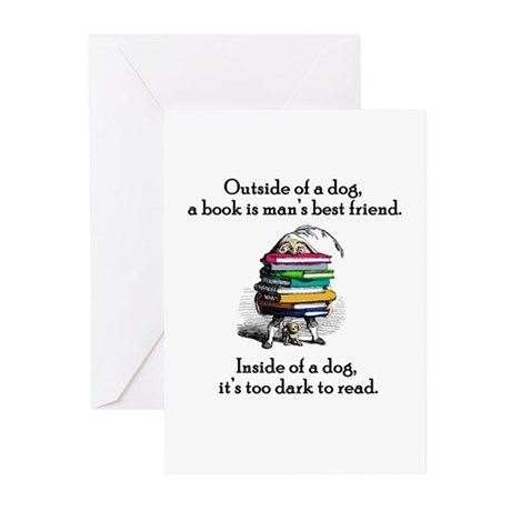 A Book is Man's Best Friend Greeting Cards (Packag