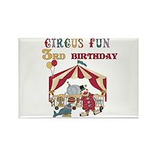 Circus Fun 3rd Birthday Rectangle Magnet