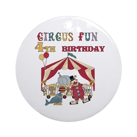 Circus Fun 4th Birthday Ornament (Round)