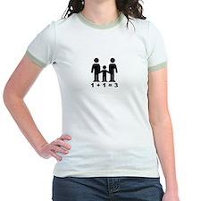 1 + 1 = 3 (graphic of family) Women's Ringer