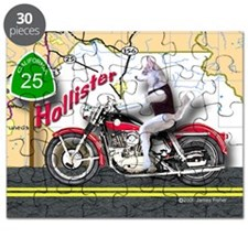 Siberian Husky Riding a Harley Motorcycle H Puzzle