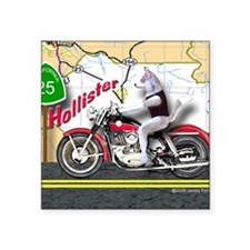 "Siberian Husky Riding a Har Square Sticker 3"" x 3"""