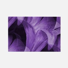 Purple Abstract Lily Rectangle Magnet