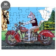Siberian Husky Riding Indian Motorcycle Lac Puzzle