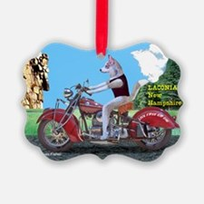 Siberian Husky Riding Indian Moto Ornament