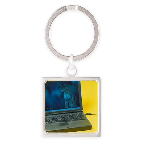 Laptop computer Square Keychain