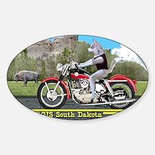 Siberian Husky Riding Harley in Stu Sticker (Oval)