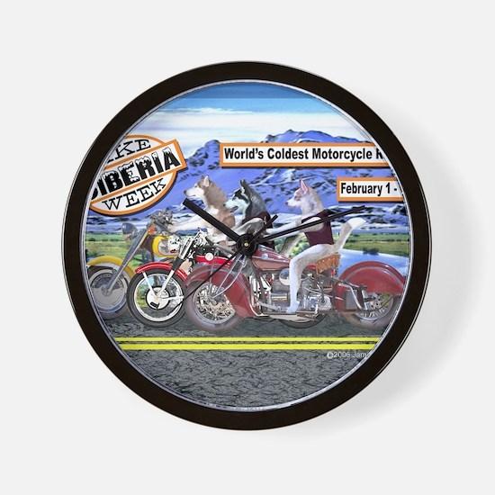 Siberian Husky Siberia Bike Week Magnet Wall Clock