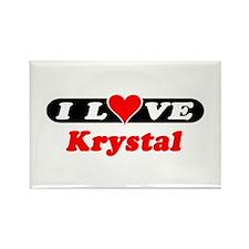 I Love Krystal Rectangle Magnet