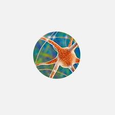 Nerve cell, computer artwork Mini Button