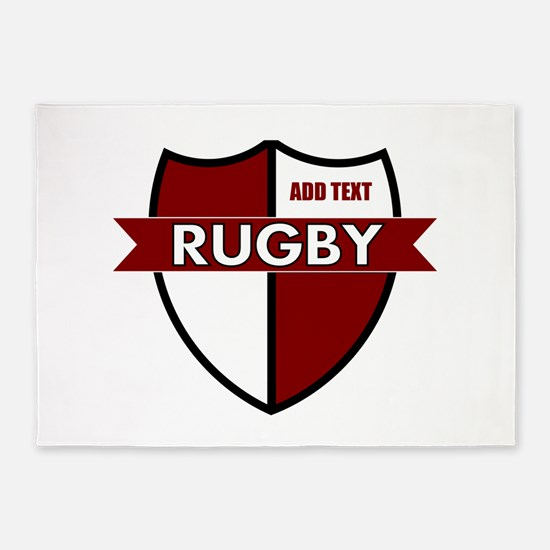 Rugby Shield White Maroon 5'x7'Area Rug