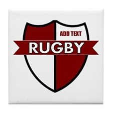 Rugby Shield White Maroon Tile Coaster