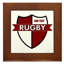 Rugby Shield White Maroon Framed Tile