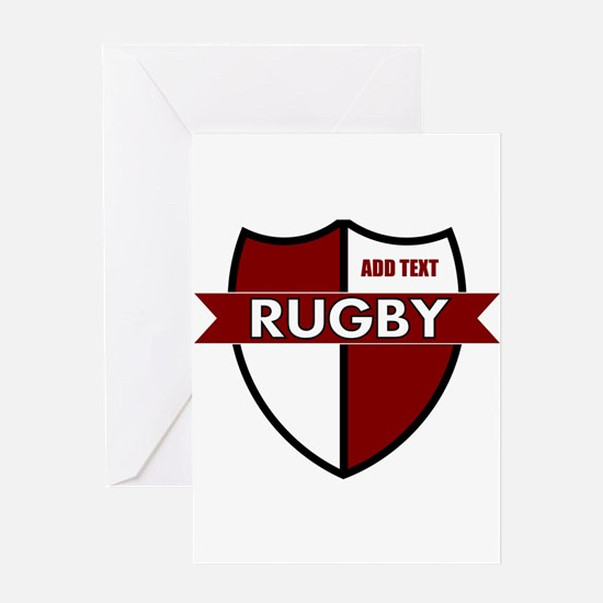 Rugby Shield White Maroon Greeting Card