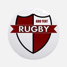 Rugby Shield White Maroon Ornament (Round)
