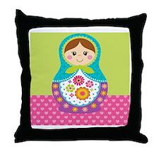 Square Matryoshka Throw Pillow