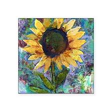 "Sunflower Sunday Art Square Sticker 3"" x 3"""