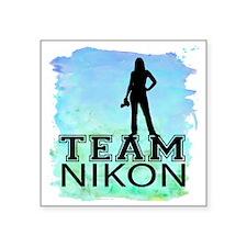 """Team Nikon Watercolor Square Sticker 3"""" x 3"""""""