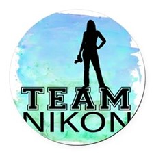 Team Nikon Watercolor Round Car Magnet