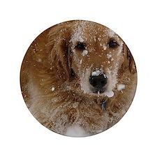 """Golden Retriever in the snow 3.5"""" Button"""