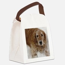 Golden Retriever in the snow Canvas Lunch Bag