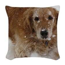 Golden Retriever in the snow Woven Throw Pillow