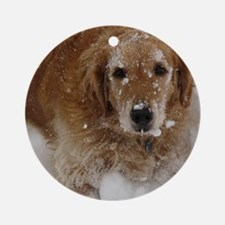 Golden Retriever in the snow Round Ornament
