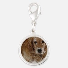 Golden Retriever in the snow Silver Round Charm