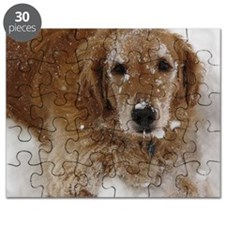 Golden Retriever in the snow Puzzle