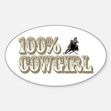 100% COWGIRL Oval Decal