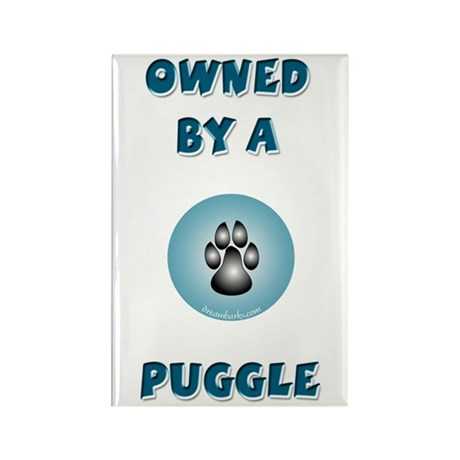 Owned by a Puggle Rectangle Magnet