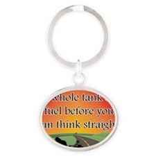 THINK STRAIGHT Oval Keychain
