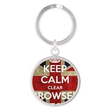 Keep Calm Clear Browser History Round Keychain