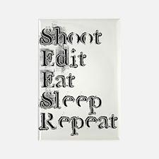 Shoot Edit Eat Sleep Repeat blk Rectangle Magnet