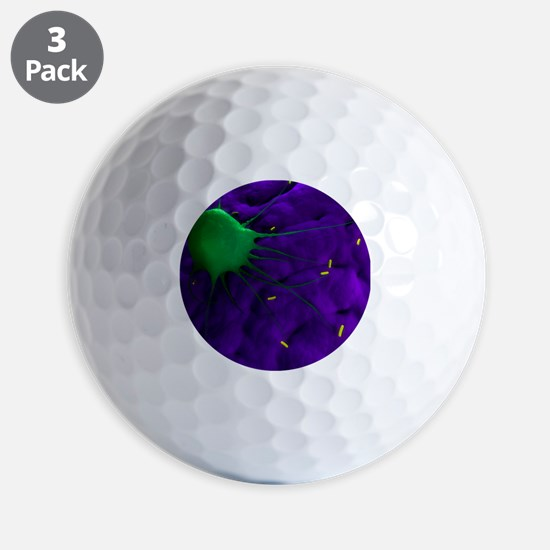 Macrophage attacking bacteria, artwork Golf Ball