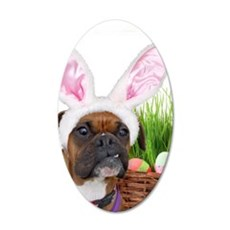 Easter Boxer Dog 35x21 Oval Wall Decal