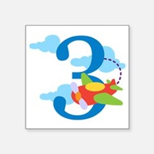 "3rd Birthday Airplane Square Sticker 3"" x 3"""
