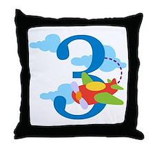 3rd Birthday Airplane Throw Pillow
